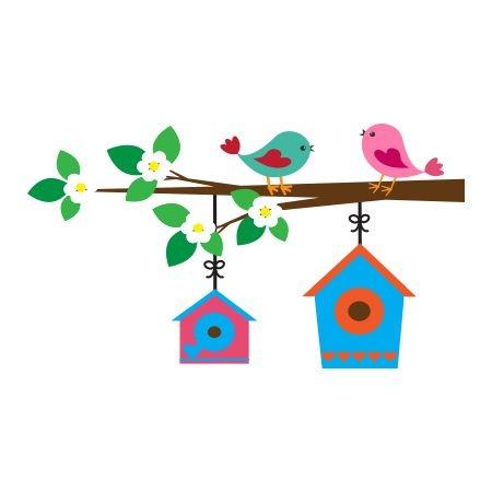 Naklejka kolorowa ptaszki na gałązce 30 :: Deco-Wall